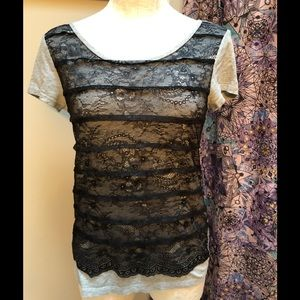 Ann Taylor Loft grey tee with black lace front